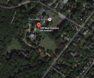 Greylock Mansion on the map. The red pin is on the home's carriage house. The mansion is below.