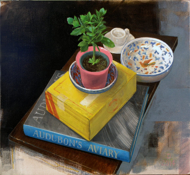 """This recent painting of """"innocuous"""" household objects reflects Dallmann's turn away from painting the human figure, which he had done for years."""