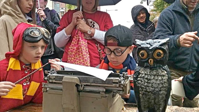 During the recent Harry Potter Weekend, many local children (and an owl) learned how to use an actual typewriter for the first time at Philly Typewriter, Greene St. & Carpenter Lane in West Mt. Airy. (Photo by Bea Segal)