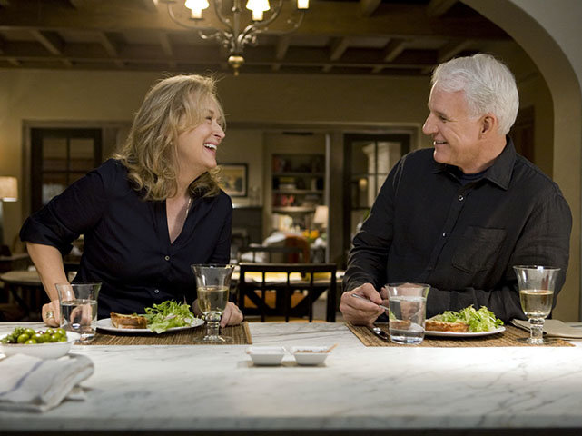 Jane (MERYL STREEP) and new love interest Adam (STEVE MARTIN) share a meal in the new film from writer/director/producer Nancy Meyers, ?It?s Complicated?, a comedy about love, divorce and everything in between.
