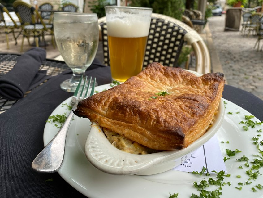 Chicken pot pie is on the menu at Campbell's Place in Chestnut Hill.