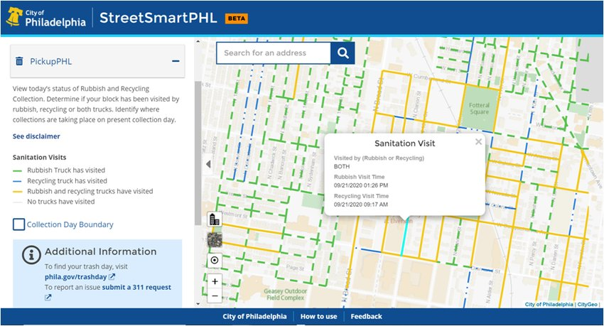 The city released data that allows users to track trash collection.