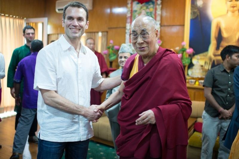 "Peacemaker Emile Bruneau, of Mt. Airy, is seen here with the 14th Dalai Lama in 2016 in India as a member of a U.S. Institute for Peace delegation. Annenberg School Dean John L. Jackson, Jr. described Bruneau as ""the most humane person I have ever met."""