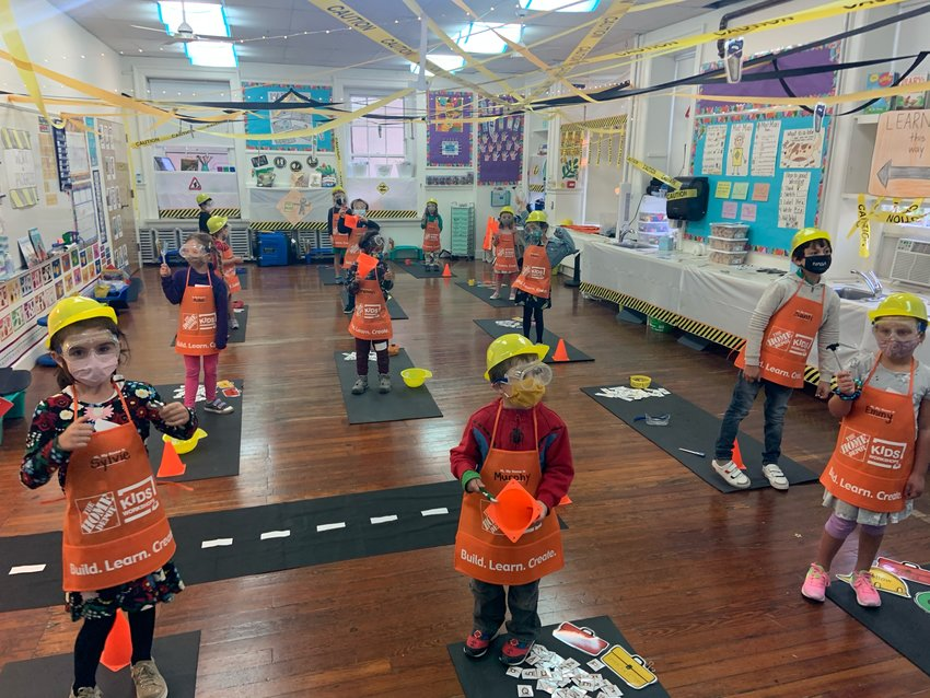 A GFS kindergarten transformed their classroom into a construction site as part of their themed immersion study.