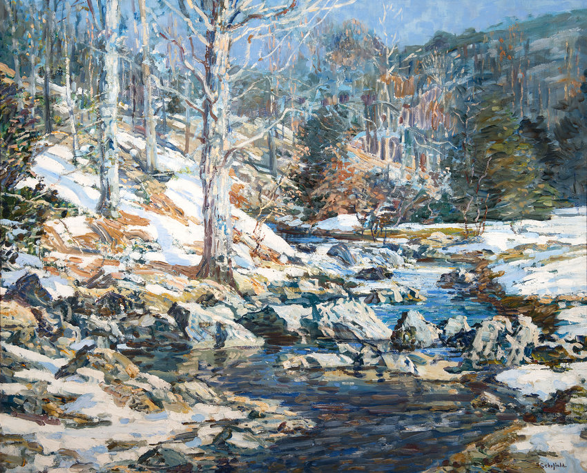 Wissahickon in Winter, 1920, by Walter Elmer Schofield. Oil on canvas, 30 x 36 in. (Woodmere Art Museum: Gift of the Margaret E. Phillips 2017 Artworks Trust, 2020)