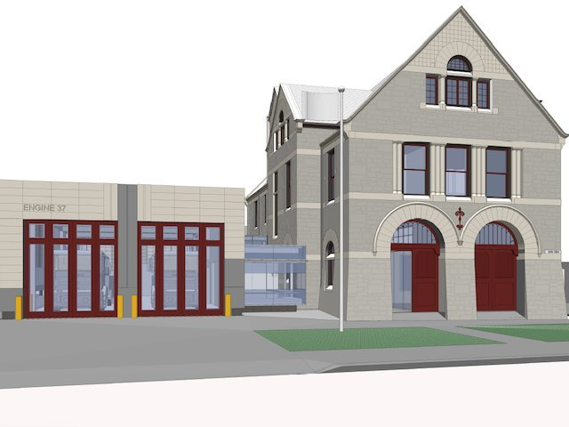 A rendering of the new modern apparatus building, currently underway.