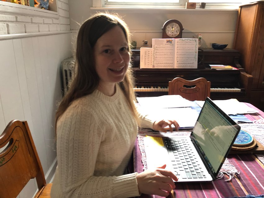 """Catherine Browne, a special education teacher in Philadelphia, at work in her """"classroom,"""" now that all instruction is remote."""