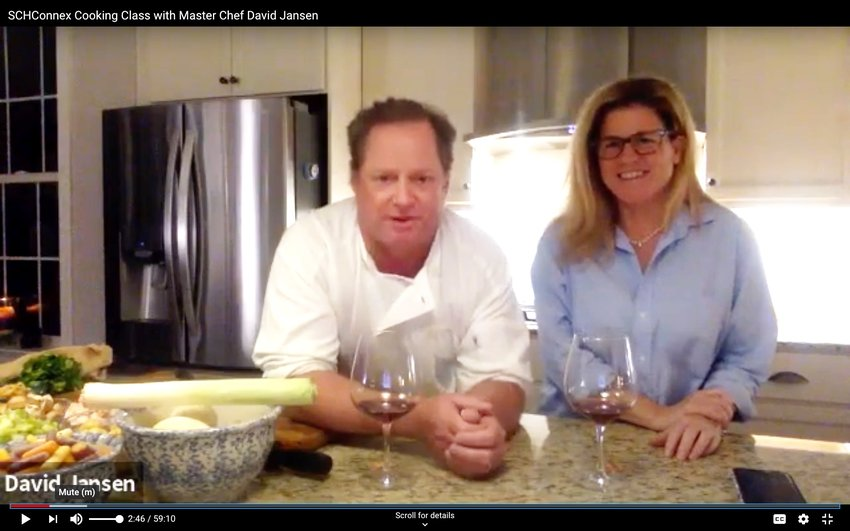 Master chef David Jansen, of the restaurant bearing his name, and wife Debbie Gress Jansen hosted a ZOOM cooking class for members of the Springside Chestnut HIll Academy  community, sharing tips and tricks for a classic French stew from their kitchen.