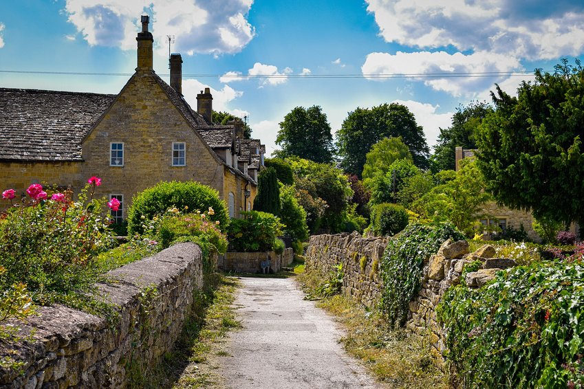 A country home in the Cotswolds region of England. The Cotswolds influenced architecture and planning in Chestnut Hill and Mt. Airy.