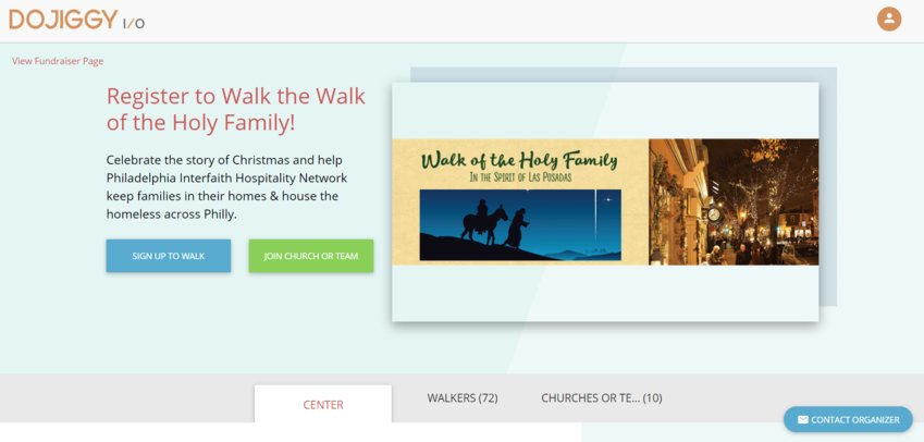 The Holy Walk fundraising home page.