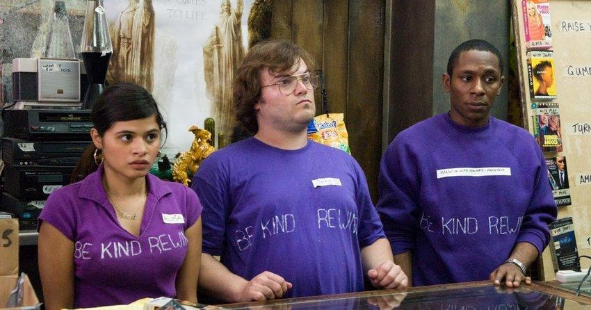 """Melonie Diaz, Jack Black and Mos Def as VHS rental employees in """"Be Kind Rewind."""""""