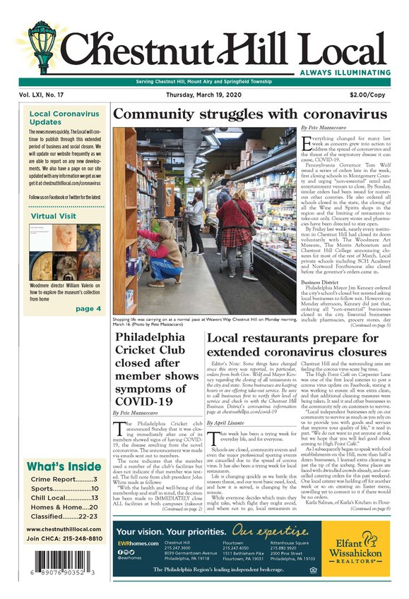 The cover of our March 19 issue in which Covid quickly shut down the city and the state and became the story of the year.