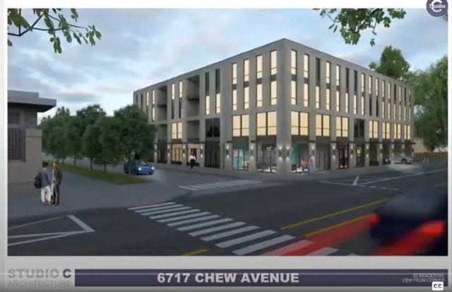 An architect's rendering of the proposed apartment building at 6717 Chew Ave. Developers requested and received a postponement of a scheduled zoning hearing after neighbors and 8th District Councilperson Cindy Bass opposed the project.