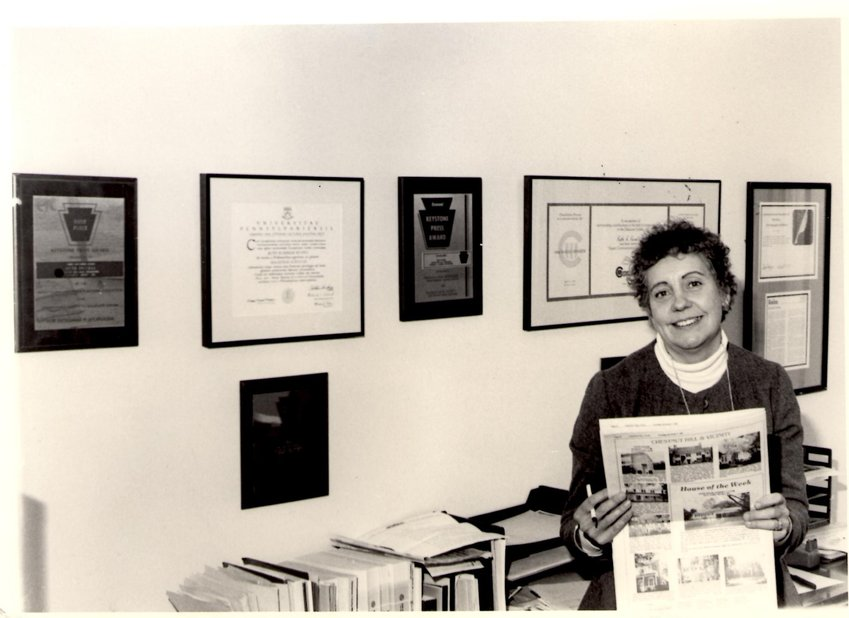 Ruth Russell in the offices of the Chestnut Hill Local in 1993.