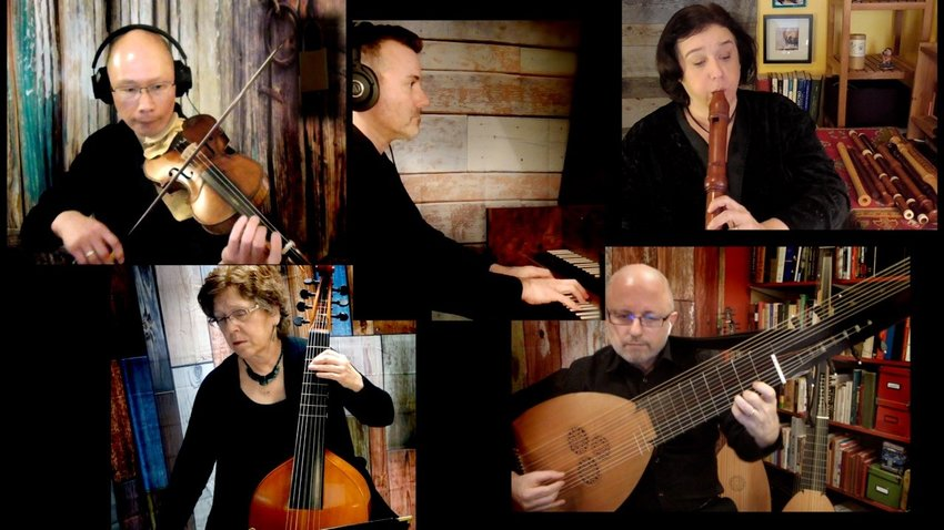 Members of Tempesta di Mare perform at home for one of several virtual performances (clockwise from top left): Emlyn Ngai, Adam Pearl, Gwyn Roberts, Richard Stone and Lisa Terry.