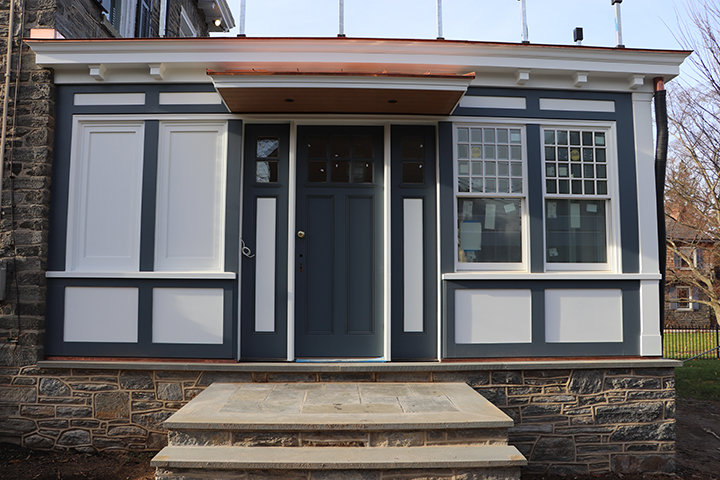 """Tabitha Oman and Myron Manternach knew they were buying a """"fixer upper,"""" and immediately they faced its surprises.  The Preservation Recognition Award honors the painstaking care that created their addition to 122 Bethlehem Pike."""