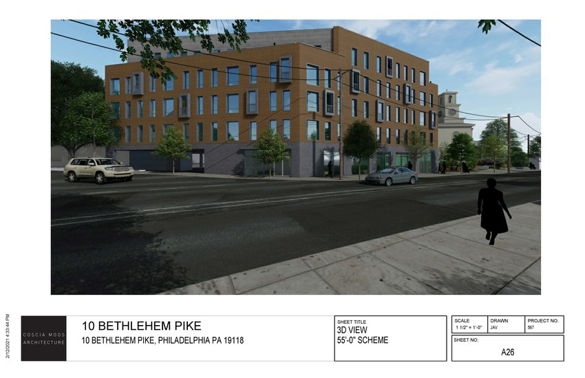 An architect's rendering of a planned retail and apartment complex at the corner of Bethlehem Pike and Germantown Avenue. The Chestnut Hill Baptist Church is shown behind the proposed building.