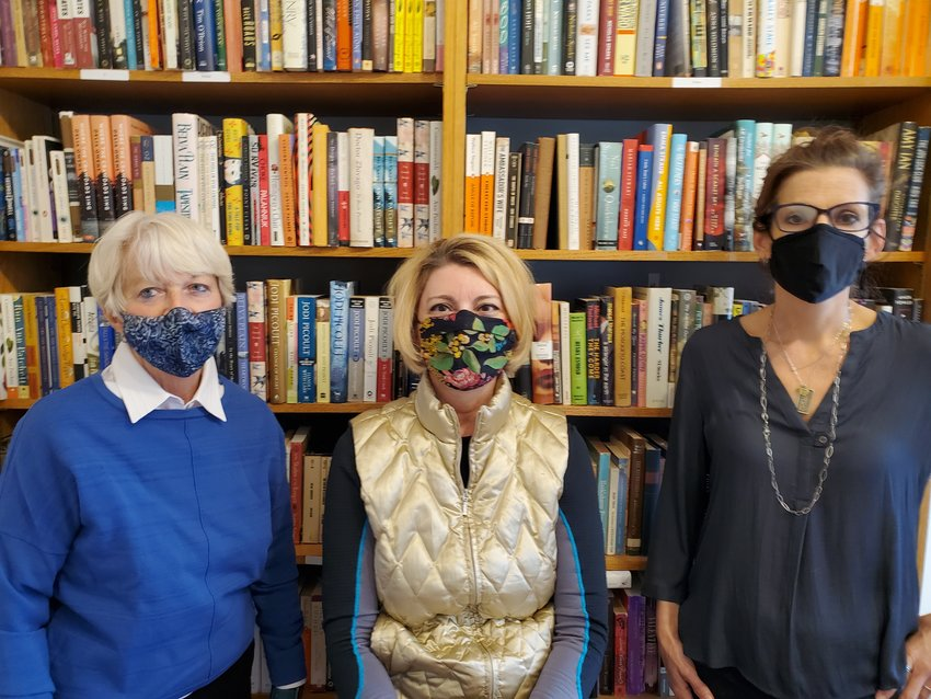 Friends of the Library Board members (from left): Lyn Buchheit, Laura Lucas and Laurene Topping at the new Hilltop Books.