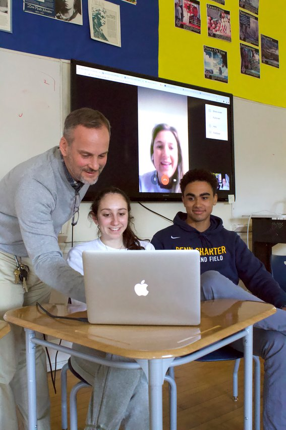 Michael Moulton teaches students in AP Computer Science Principles at Penn Charter during a 2019 video Q & A with a Penn Charter Class of 2007 alumna Shannon Harrington, of Chestnut Hill.