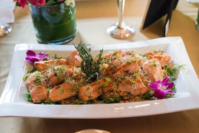 The Achiote Roasted Salmon with papaya, grilled pineapple and honey-lime cous cous from Seedling and Sage is a good ambient meal for al fresco dining.