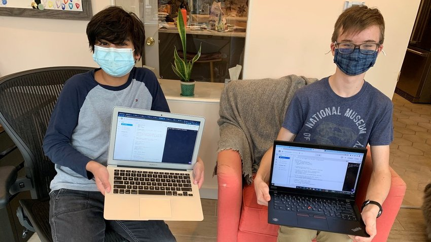 "GFS freshmen Jackson Rodgers and Finn Jamieson won first place in their school's ""Quackathon"" with ""Quakerism Discord Bot""— a Python-based bot designed to reduce cyberbullying in text-based forums."