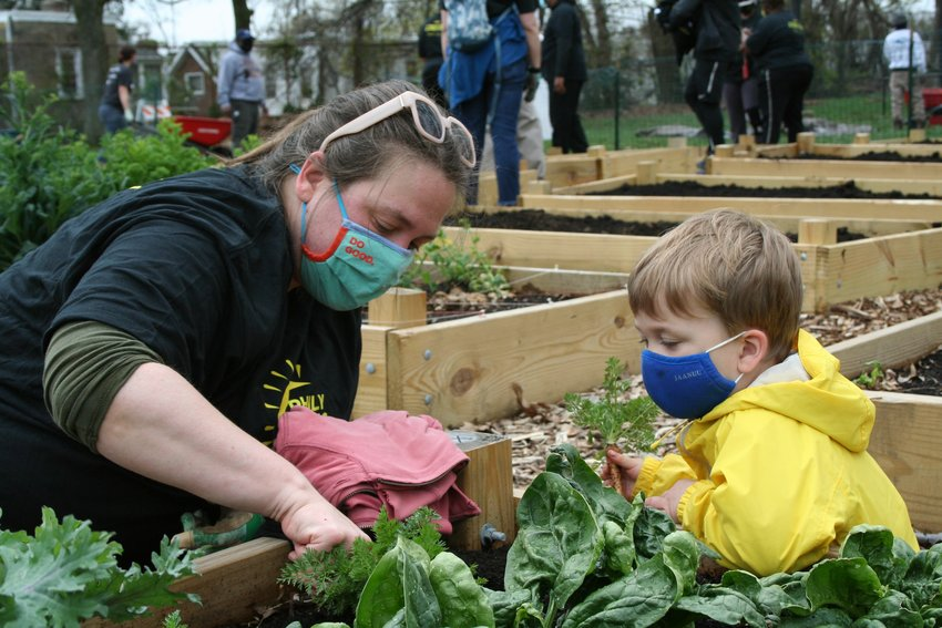 East Mt. Airy residents, Stephanie Hagan, and son, Walkley Hagan, two-and-a-half, explore the new community garden at Pleasant Playground.(Photo by Patrick Cobbs)