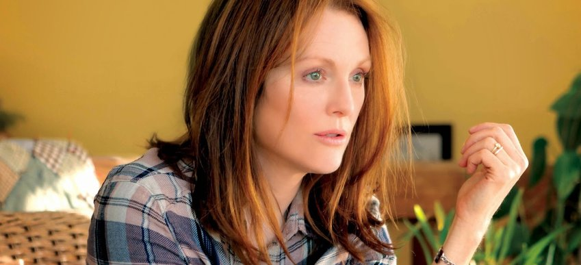 "Julianne Moore is Alice Howland, an accomplished linguistics professor at Columbia University in New York City who is diagnosed with early-onset Alzheimer's disease at age 50 in ""Still Alice."""
