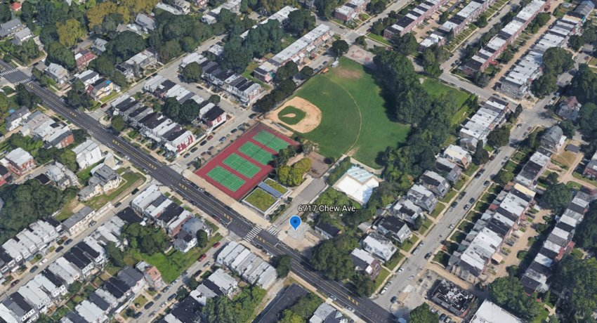 A Google Earth image shows 6717 Chew Ave., the location for a proposed development. It's proximity to the surrounding playground complex has neighbors and local leaders opposed.