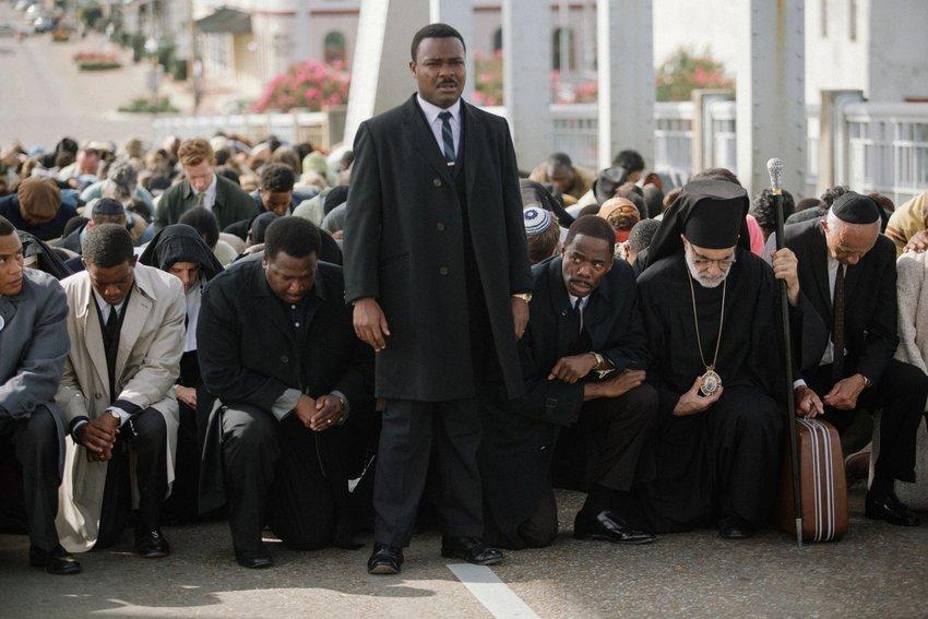 "David Oyelowo (center) as Martin Luther King Jr. in ""Selma."" (Photo by Atsushi Nishijima, Paramount Pictures)"