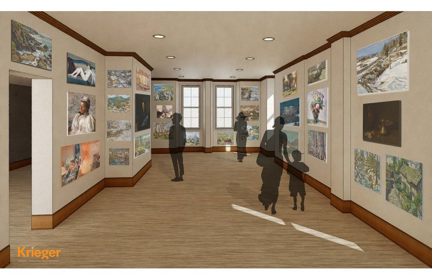 A rendering by Krieger and Associates Architects shows what a dedicated gallery space would look like in St. Michael's Hall should Woodmere Art Museum succeed in purchasing the property.
