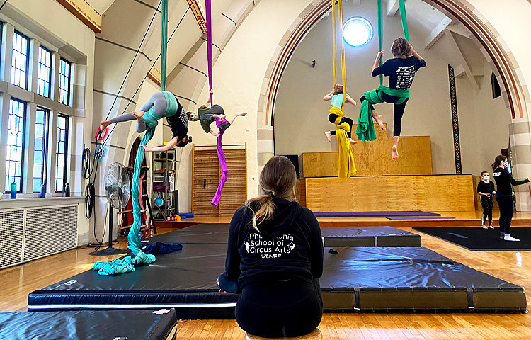 """Fabric class, September 2020. """"We do have protocols now where people stay further apart,"""" said Shana Kennedy. PSCA temporarily eliminated group acrobatics and everyone became a soloist. Classes and camps were held outside when possible."""
