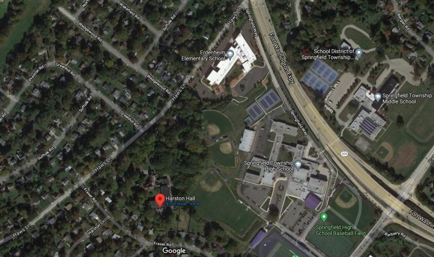 A Google Maps image of the wooded area between Erdenheim Elementary School (above) and Harston's Hall (below). Owner Brian Halligan is looking to use the land for a 41-unit townhouse development.