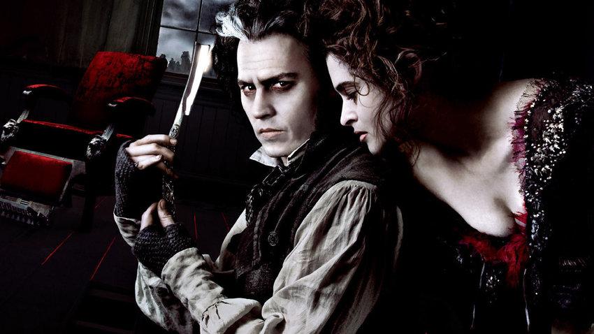 "Johnny Depp and Helena Bonham Carter in Tim Burton's adaptation of ""Sweeney Todd."""