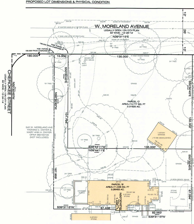540 W. Moreland is now a large front lawn leading up to the main house. The proposed change would divide it into one lot bordering the street and a lot for the house behind, with a 15-foot-wide driveway connecting that to the street. (Plan from Ruggiero Plante Land Design for Ganos LLC)