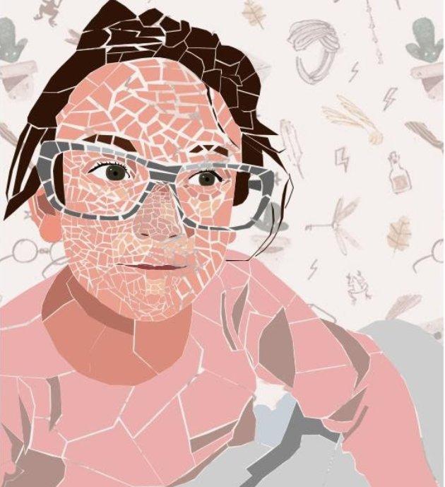Self Portrait, Arielle Biron, Grade 6.