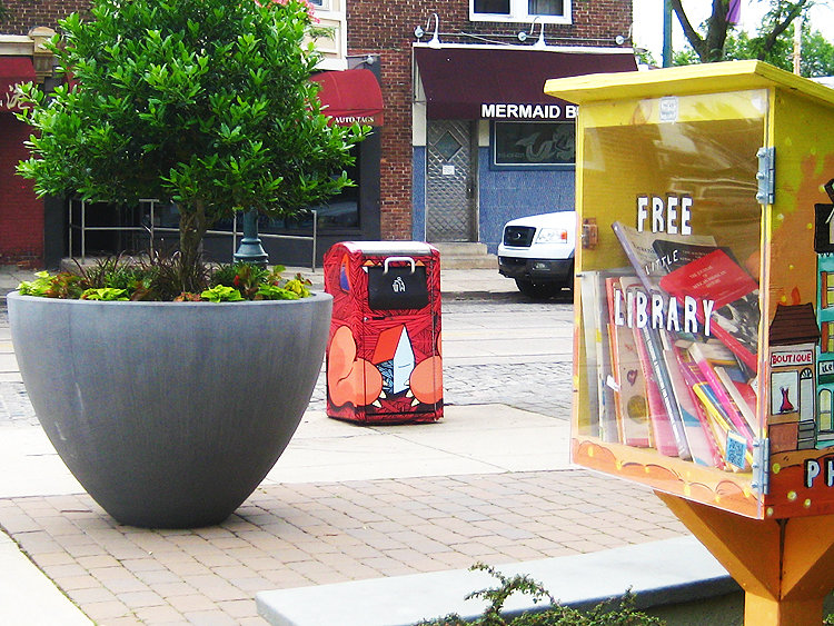 The park at Germantown and Pelham, next to Malelani's Café, was created in 2018. There are five pocket parks in Mt. Airy, with a sixth opening this summer in the 7100 block. (Photo by Walt Maguire)