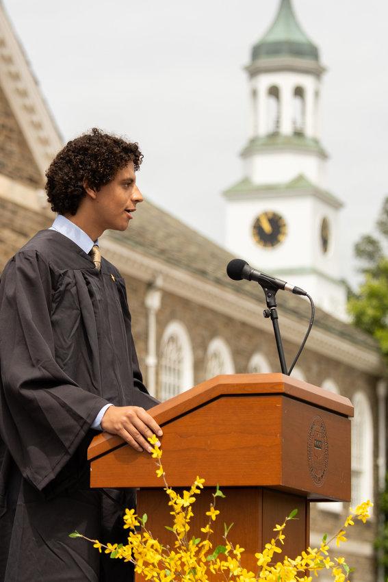 Daniel Rodriguez speaks at Penn Charter's graduation. (Photo by Michael Branscom)