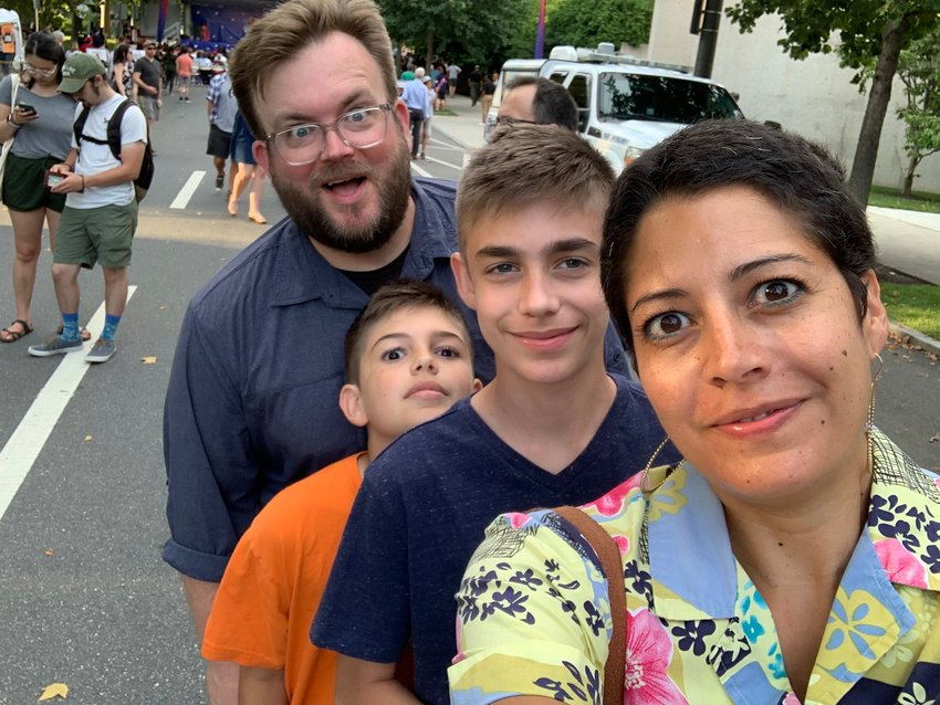 Kyle and Linette, who met at Drexel as sophomores in 1998, are seen with their sons, Carver, 14, and Ronin, 11.