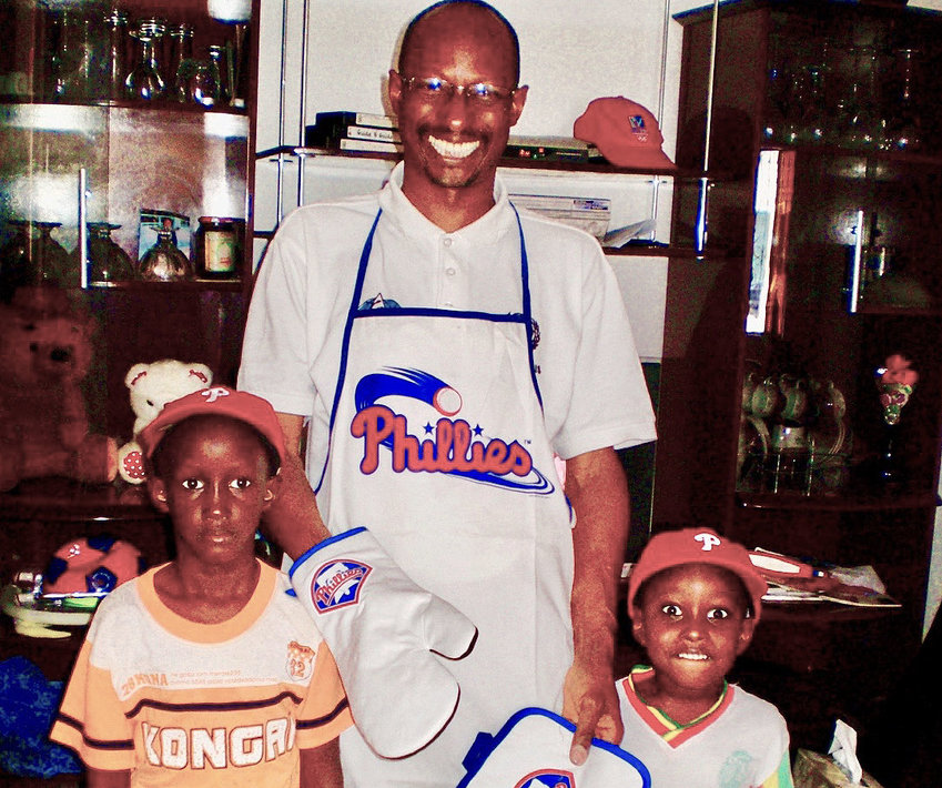 Thierno, Oumar and Idy Watt are seen with gifts from their Philly friends at their home in Dakar, Senegal, in 2009.