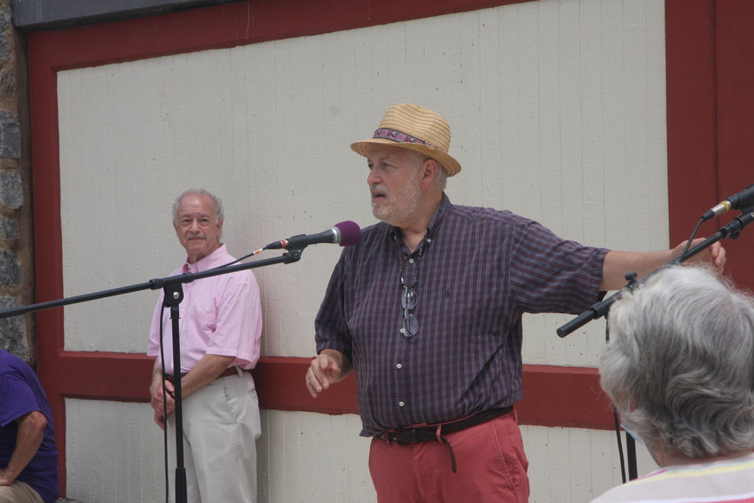 Steve Stroiman (left) and Eric Sternfels at the reopening ceremony for the Allens Lane Bridge, July 11, 2021.