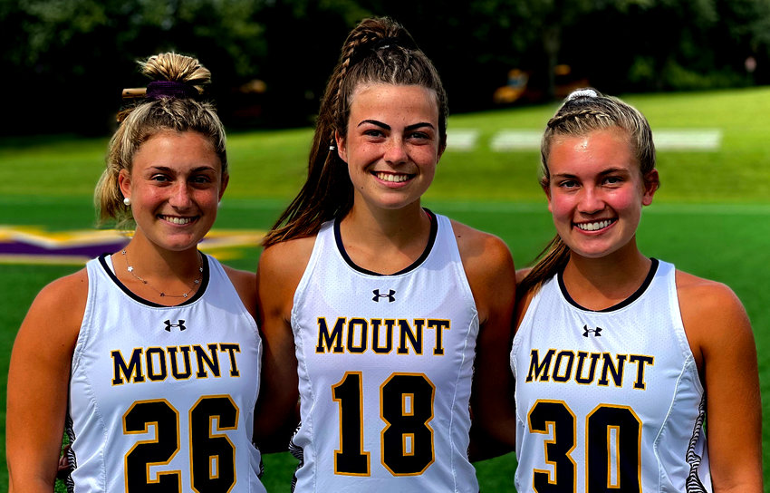 Mount St. Joseph's 2021 field hockey captains are (from left) seniors Devon Lasky, Ashley Timby, and Katie Convey.