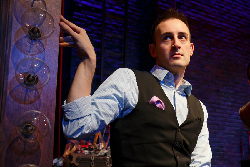 """Joe Kinosian in """"Murder for Two,"""" which opens at the Bristol Riverside Theatre Sept. 21."""