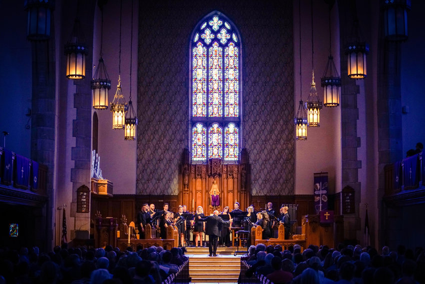 """""""Returning"""" was performed before an audience of nearly 300 devoted and ecstatic fans in the Presbyterian Church of Chestnut Hill. (Photo by Christian Stewart)"""