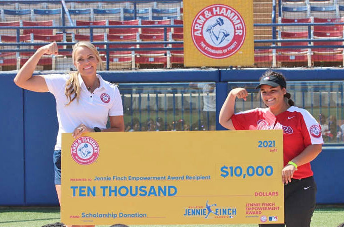 Jennie Finch (left) and Angelina Sannicandro, Germantown Academy '22, at the Jennie Finch Classic in Oklahoma City, Oklahoma.