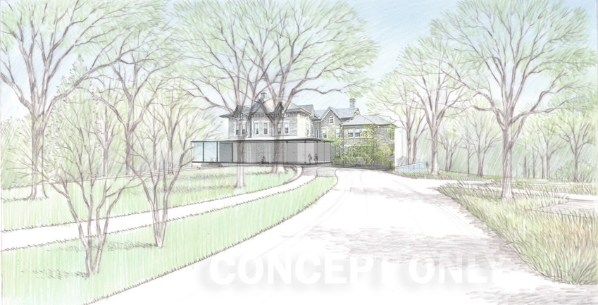 Woodmere design teams' sketch of a remodeled St. Michael's Hall, viewed from the proposed entrance on Germantown Avenue. Courtesy Matthew Baird Architects.