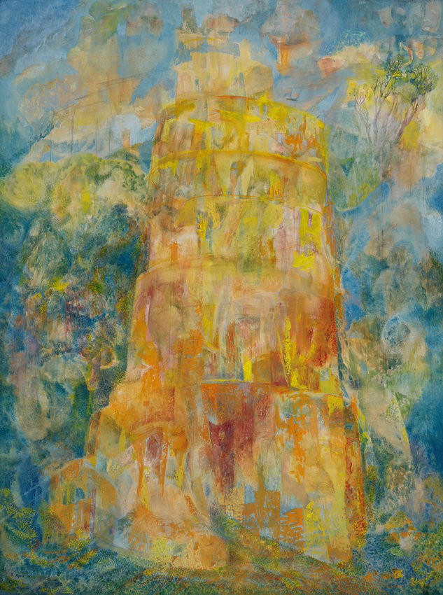 Tower of Babel, 1969, by Roland Ayers. Gouache on board , 39 ¾ x 30 in. (Woodmere Art Museum: Gift of Sheila Whitelaw, 2021)