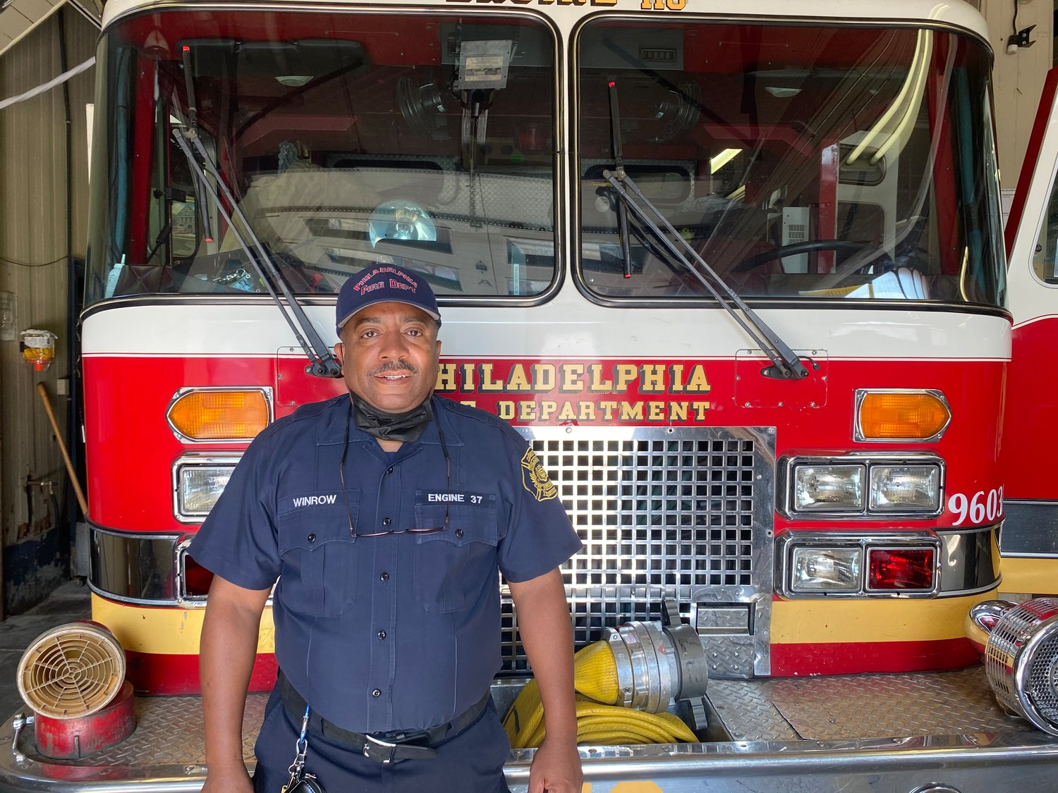 Firefighter Charles Winrow of Engine 37 in Chestnut Hill.