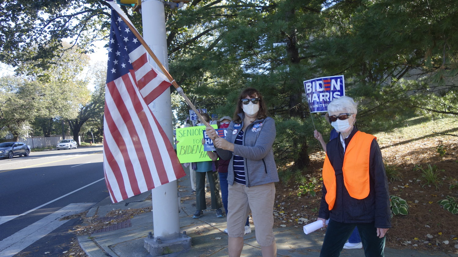 Participants in a rally held by Cathedral Village residents to support Presidential candidates Joe Biden and his running mate, Kamala Harris.(Photo by Barbara Sherf).