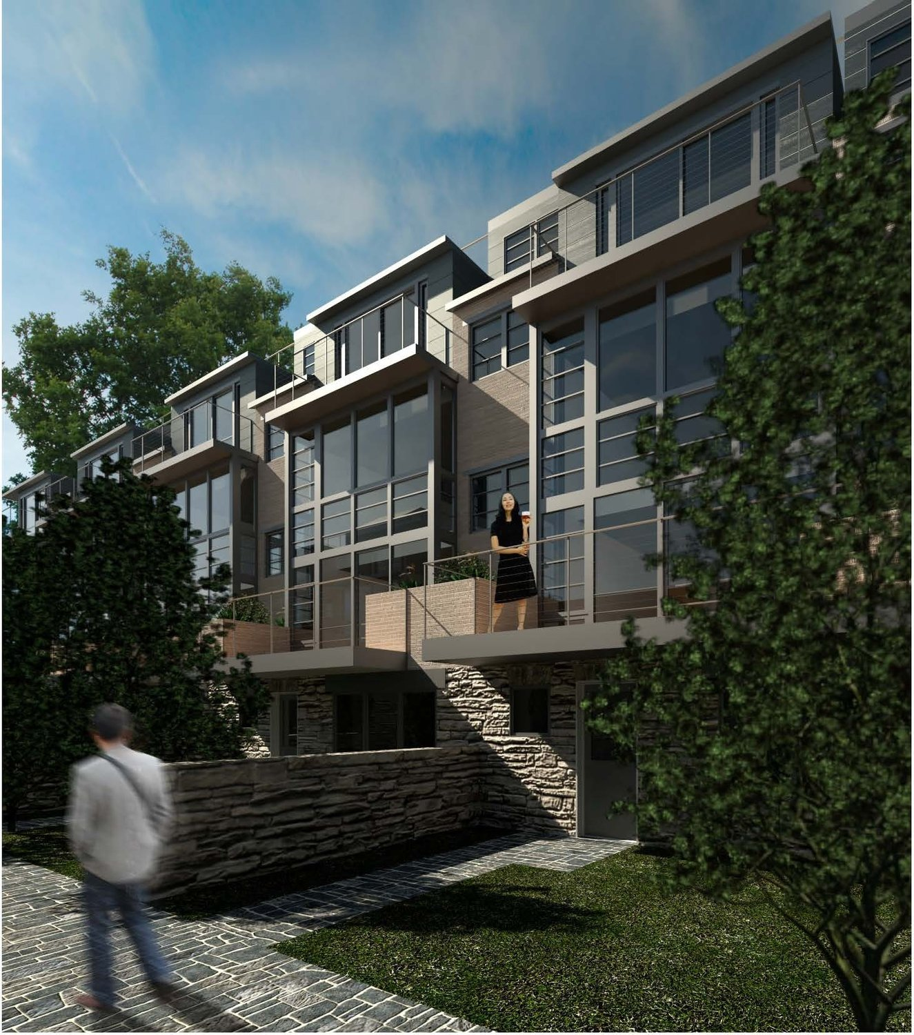 An architect's rendering of townhomes planned for 30 W. Highland Ave,