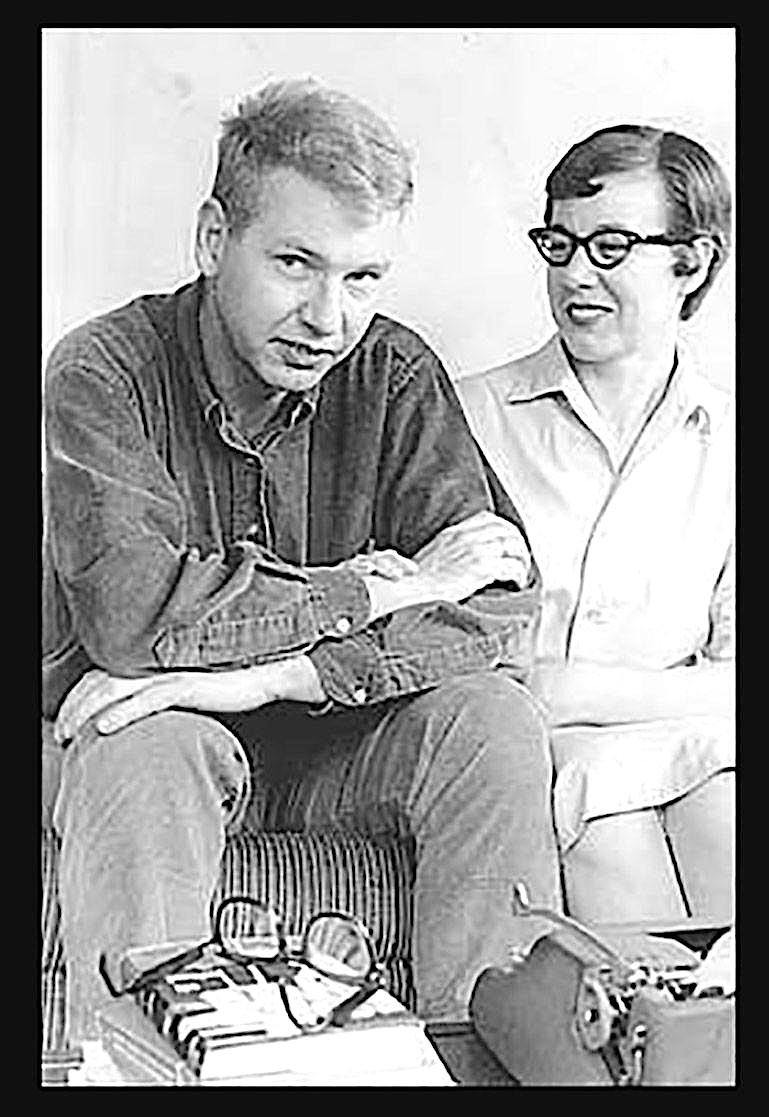 "Walter Tevis and his wife Jamie Griggs in better days, photographed on the cover of Griggs' memoir, ""My Life with The Hustler."""